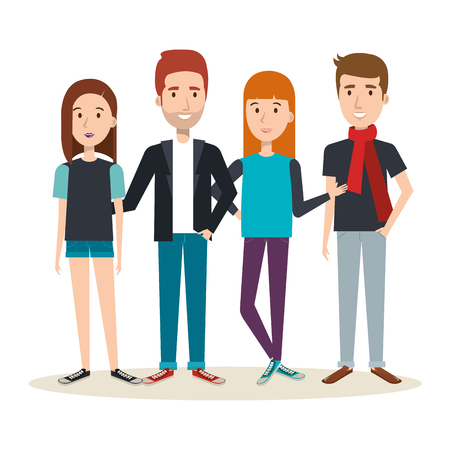 Junge Leute über hellem Hintergrund Vektor-Illustration Standard-Bild - 80734004