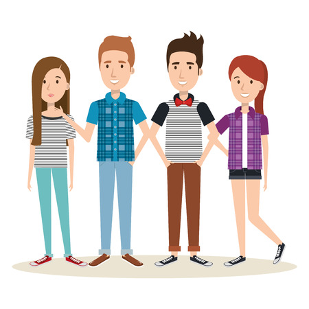 Young people over light background vector illustration