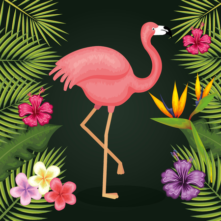 Flamingo with tropical flowers and leaves over green background vector illustration