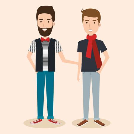Junge Hipster Männer über Licht Hintergrund Vektor-Illustration Standard-Bild - 80734015