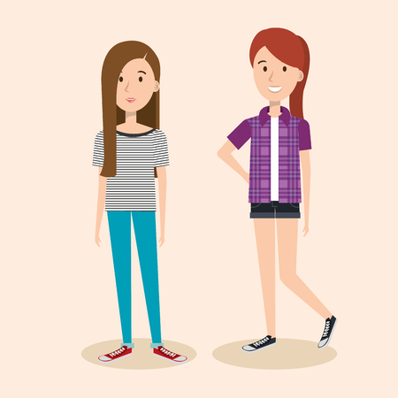 Young women over light background vector illustration
