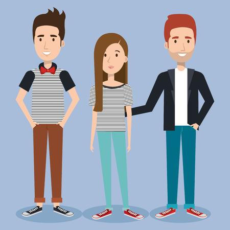 Young hipster people over blue background vector illustration