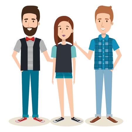 Junge Leute über hellem Hintergrund Vektor-Illustration Standard-Bild - 80735605
