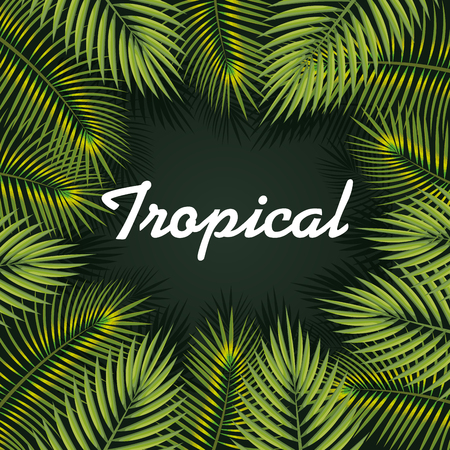 Tropical sign framed by tropical leaves over green background vector illustration
