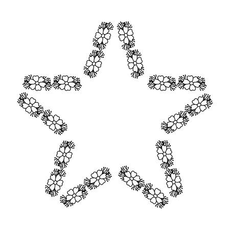 Star shaped floral frame vector illustration design