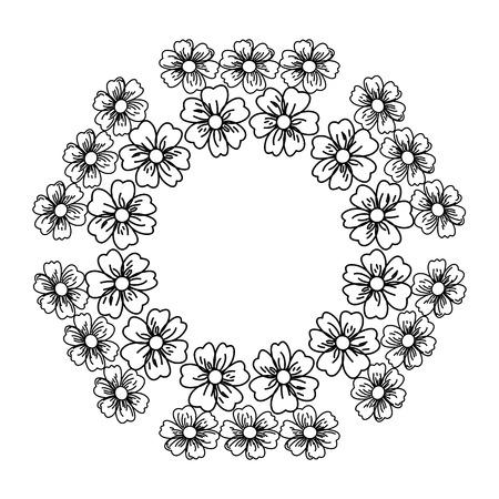 simple frame: circular frame deoration floral vector illustration design Illustration