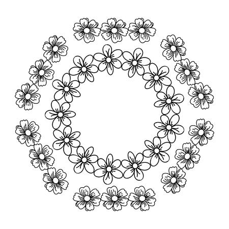 circular frame deoration floral vector illustration design Illustration