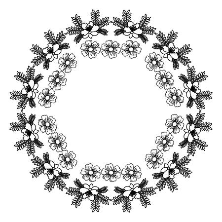 simple frame: circular frame decoration floral vector illustration design Illustration