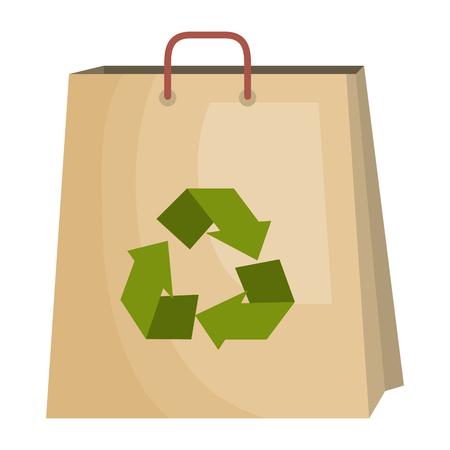 boodschappentas met recycle symbool vectorillustratie ontwerp