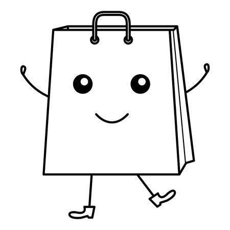 shopping bag comic character vector illustration design Stock Vector - 80759493