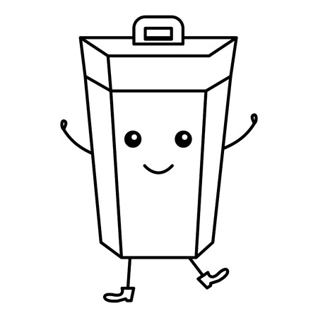 Zeichentrickfilm-Figurvektorillustrationsdesign des Müllbehälters