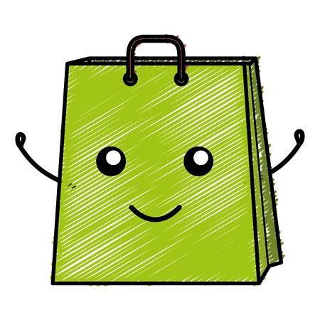 shopping bag comic character vector illustration design Stock Vector - 80759531