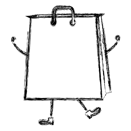 shopping bag comic character vector illustration design Stock Vector - 80759554