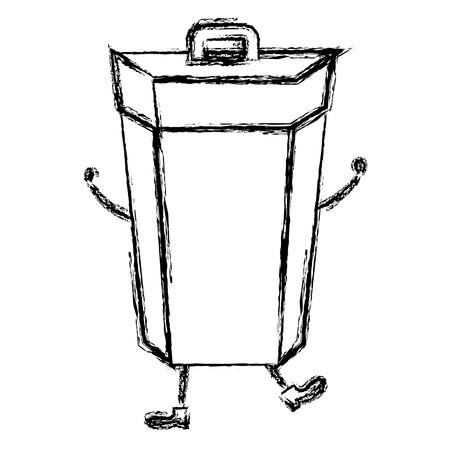 ゴミ箱コミック文字ベクトル イラスト デザイン