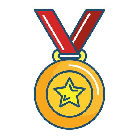 champion medal with star vector illustration design