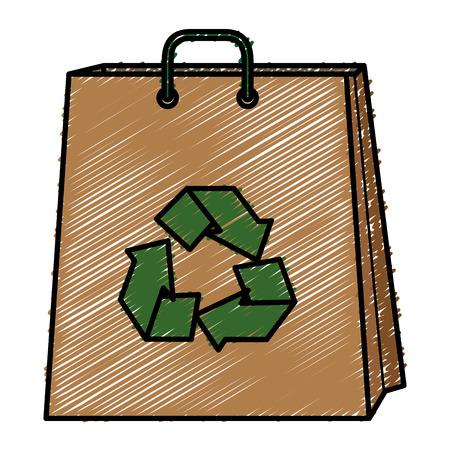 shopping bag with recycle symbol vector illustration design Ilustração