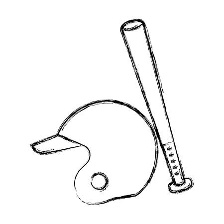 baseball bat and helmet equipment isolated icon vector illustration design