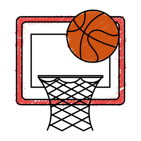basketball balloon and basket vector illustration design