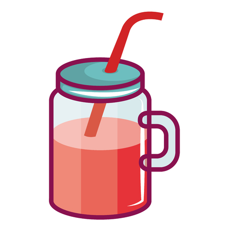 jar with juice fruit vector illustration design