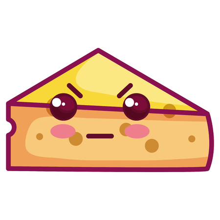 fresh cheese piece kawaii character vector illustration design Иллюстрация