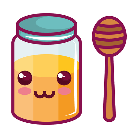 sweet honey kawaii character vector illustration design