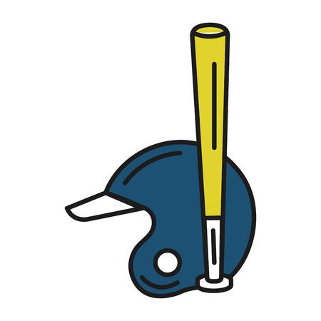 야구 방망이 및 헬멧 장비 격리 아이콘 벡터 일러스트 디자인