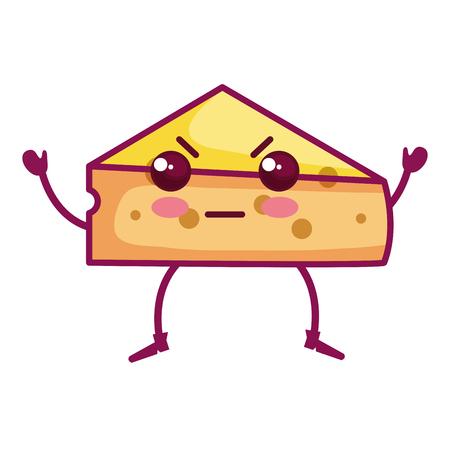 fresh cheese piece kawaii character vector illustration design Illustration