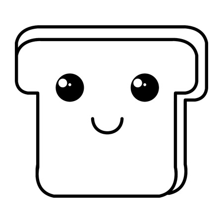 toasted: delicious slices bread kawaii character vector illustration design