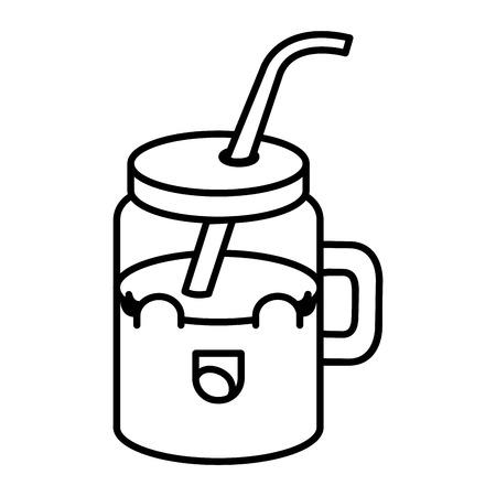 주스 과일 kawaii 문자 벡터 일러스트 디자인으로 항아리