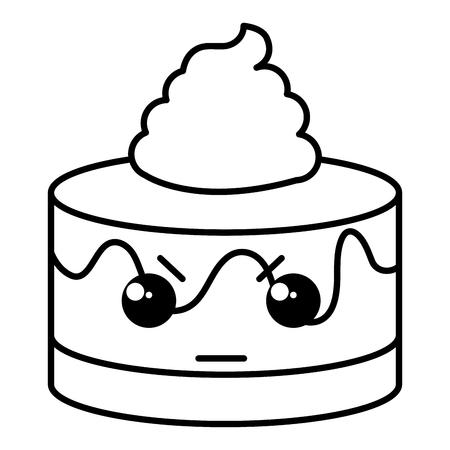 Torta dolce kawaii carattere disegno illustrazione vettoriale Archivio Fotografico - 80761383