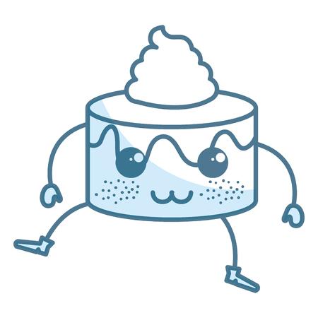 甜蛋糕卡哇伊人物矢量插画设计