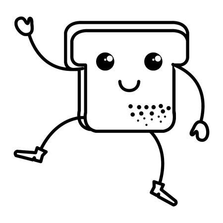 Köstliche Scheiben Brot kawaii Charakter Vektor-Illustration Design Standard-Bild - 80761842