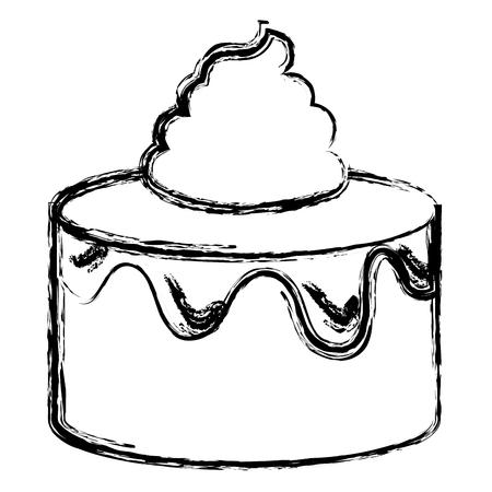 달콤한 케이크 격리 된 아이콘 벡터 일러스트 디자인