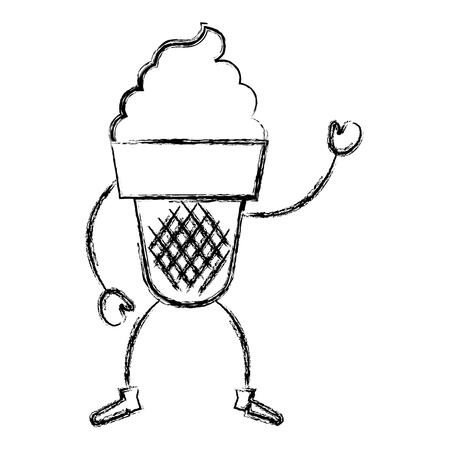 冰淇凌Kawaii字符传染媒介例证设计