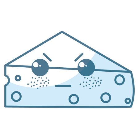 신선한 치즈 조각 가와이 문자 벡터 일러스트 레이션 디자인 일러스트