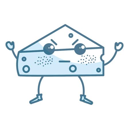 fresh cheese piece kawaii character vector illustration design Ilustrace