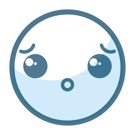 emoticon confused face kawaii character icon vector illustration design