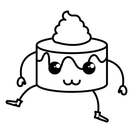 sweet cake kawaii character vector illustration design Ilustração
