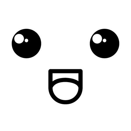 face kawaii character icon vector illustration design