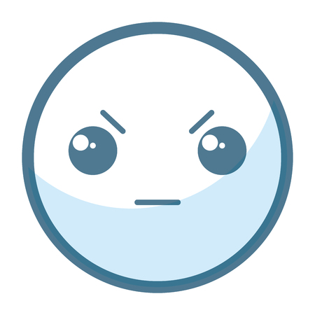 emoticon angry face kawaii character icon vector illustration design