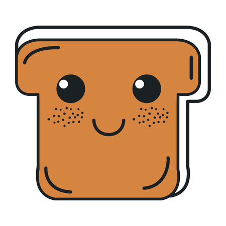 delicious slices bread kawaii character vector illustration design