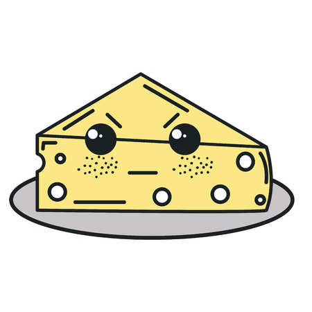 fresh cheese piece kawaii character vector illustration design Ilustração