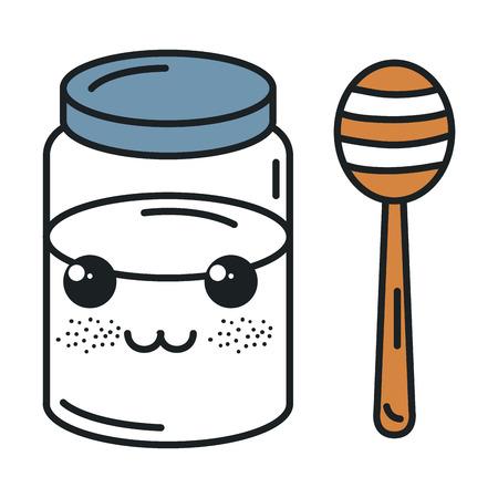 sweet honey kawaii character vector illustration design