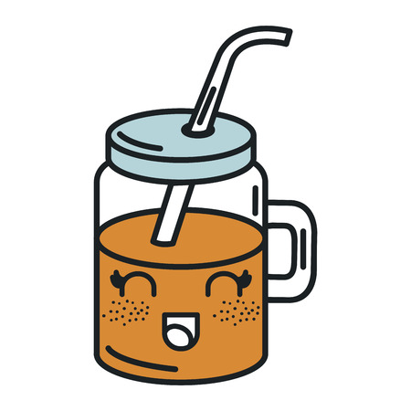 jar with juice fruit kawaii character vector illustration design