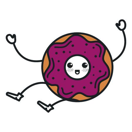 glaze: delicious sweet donut kawaii character vector illustration design Illustration