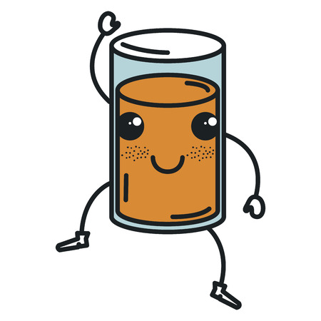 orange juice glass kawaii character vector illustration design