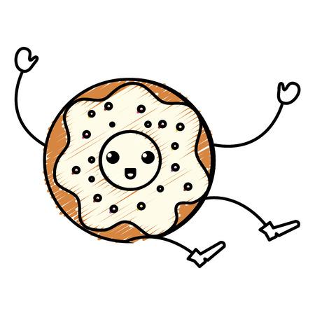 glaze: Delicious sweet donut character vector illustration design