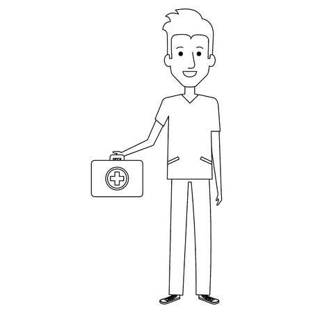 Professional man of health with medical kit vector illustration design