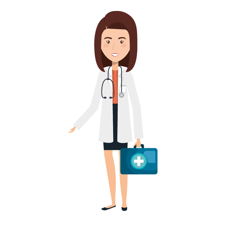 general practitioner: Professional woman of health with medical kit vector illustration design