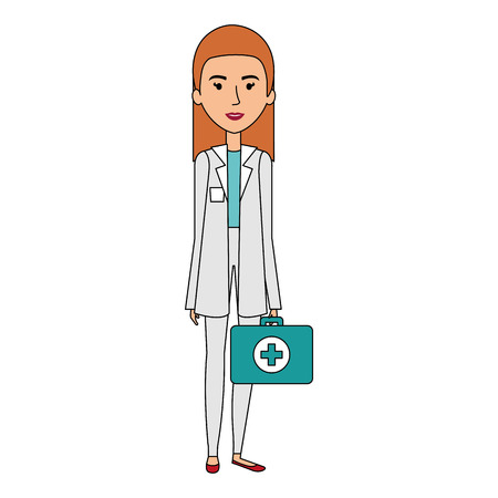 Professional woman of health with medical kit vector illustration design